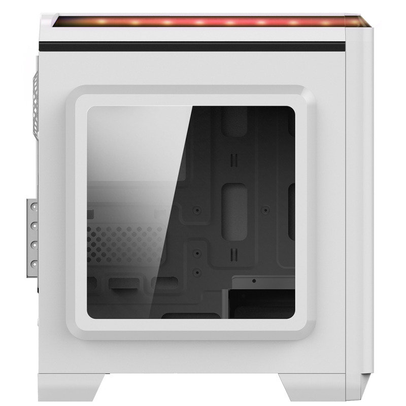 CIT Lightspeed Micro ATX White Tower Case With Inbuilt LED Light System 2x LED Red Fans