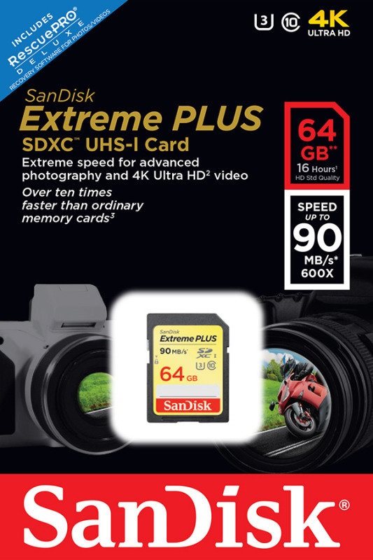 SanDisk Extreme Plus 64GB SDHC UHS-I Memory Card