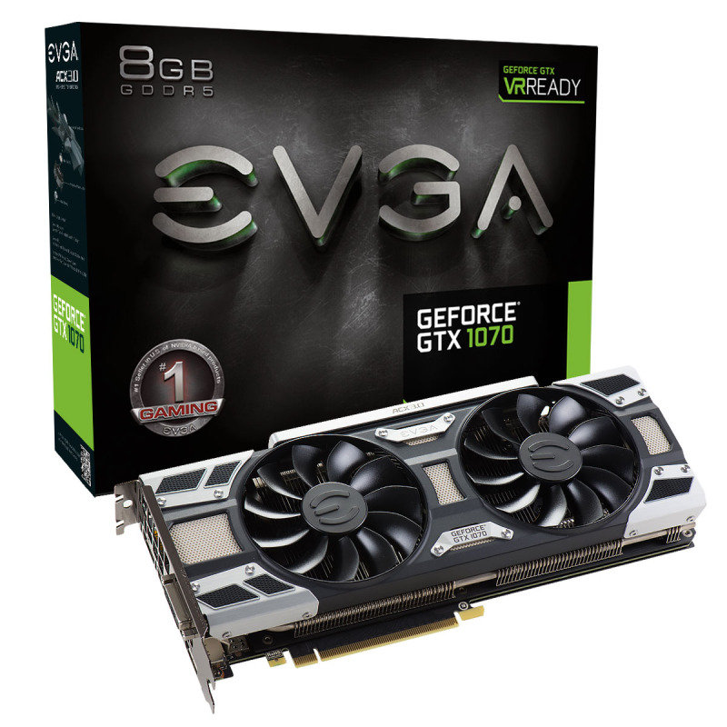EVGA GeForce GTX 1070 GAMING ACX 3.0 8GB GDDR5 DVI-D HDMI 3x DisplayPort PCI-E Graphics Card