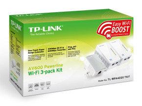 TP-Link TL-WPA4220T KIT V1.20 AV600 Wi-Fi Powerline Network Kit - 3 Pack