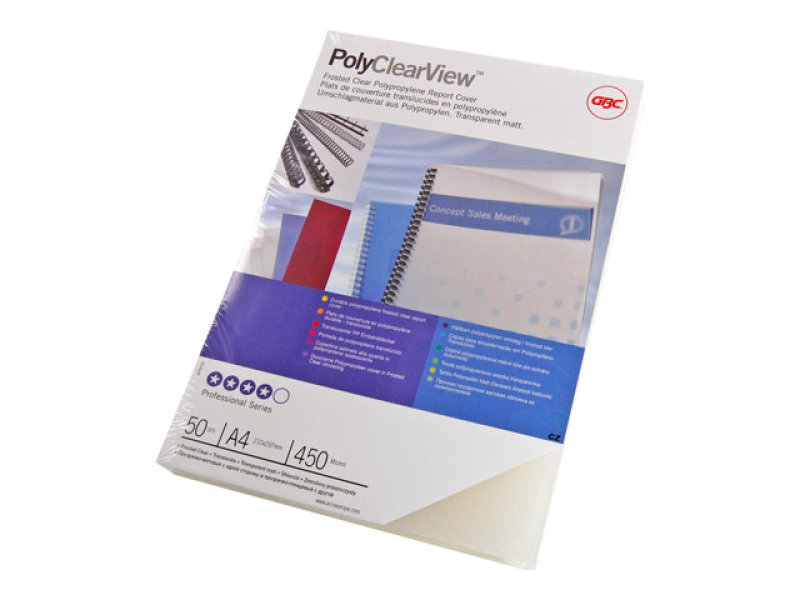 GBC PolyCovers A4 ClearView Binding Covers Polypropylene 300 Micron Frosted (Pack 100)