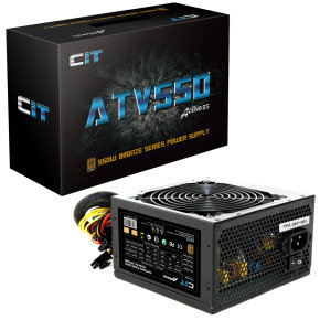550W ATV PSU 12CM Fan Full Range Input 1x FDD 4x Sata Retail Boxed