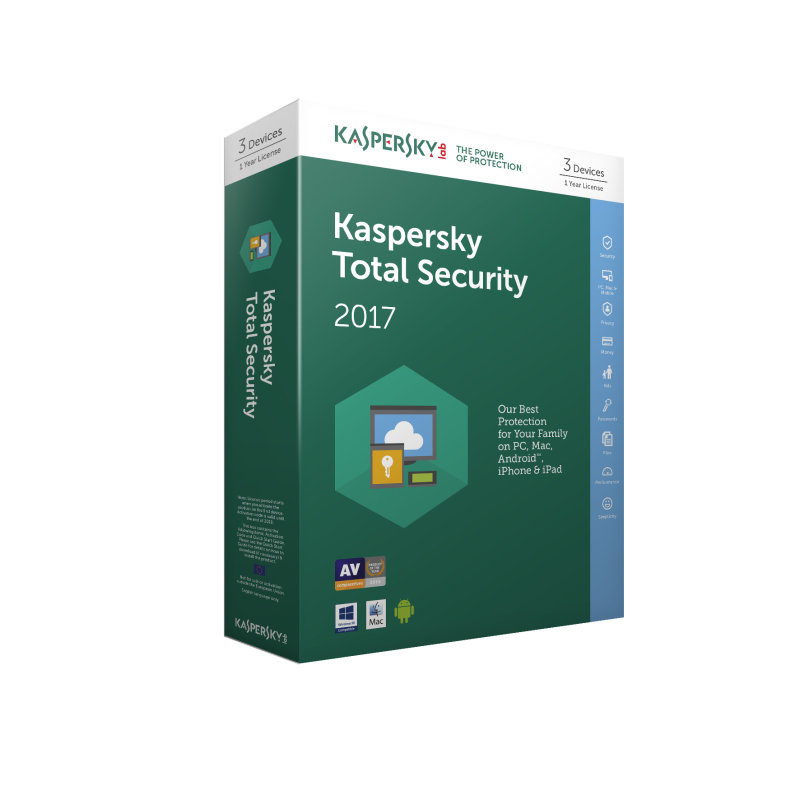 Kaspersky Total Security 2017 3 Device 1 Year Medialess