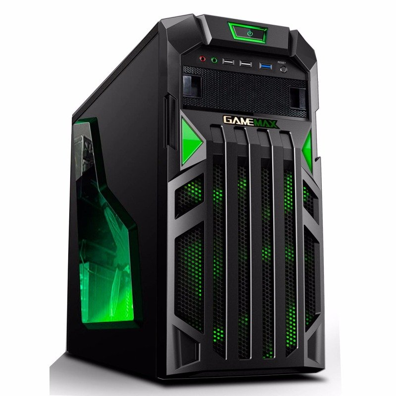 game max centurion gaming case with front amp rear green led fans