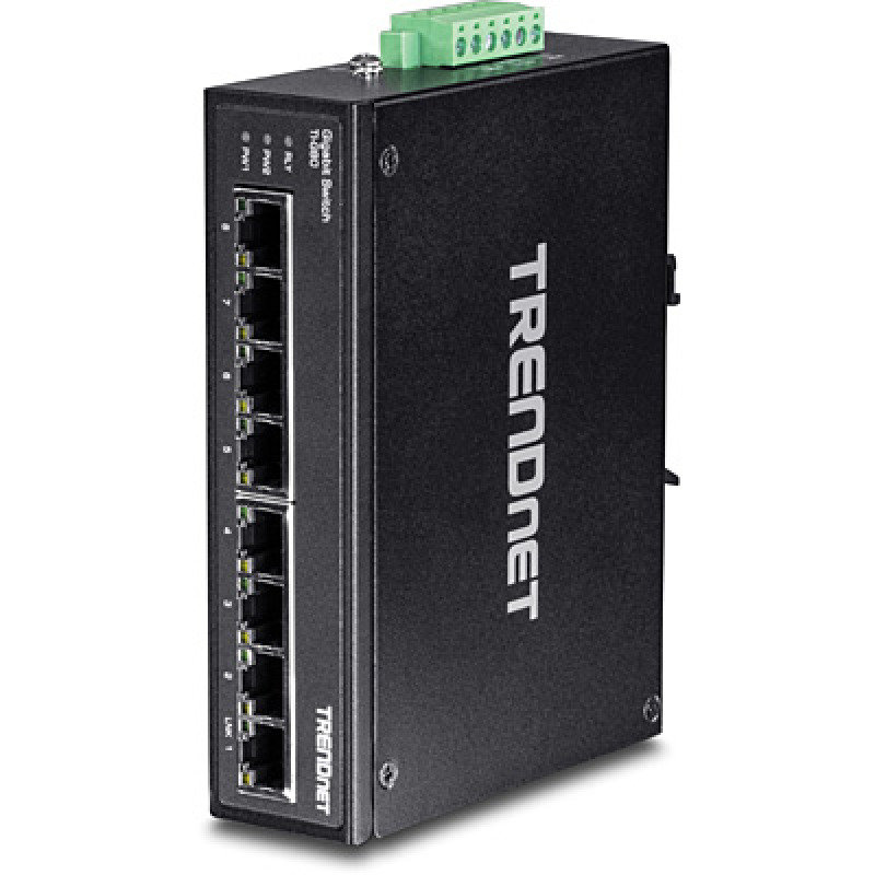 TRENDnet 8-Port Hardened Industrial Gigabit DIN-Rail Switch