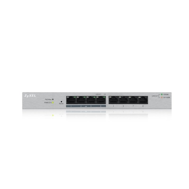 Zyxel GS1200-8HP 8 Port Gigabit PoE+ Web Managed Switch with 4 x PoE