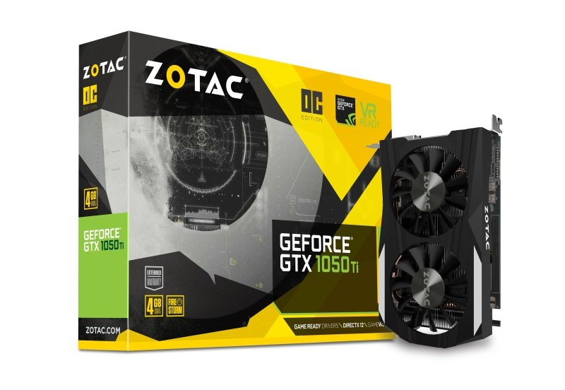 Zotac Geforce GTX 1050 TI OC 4GB GDDR5 DVI-D HDMI DisplayPort PCI-E Graphics Card