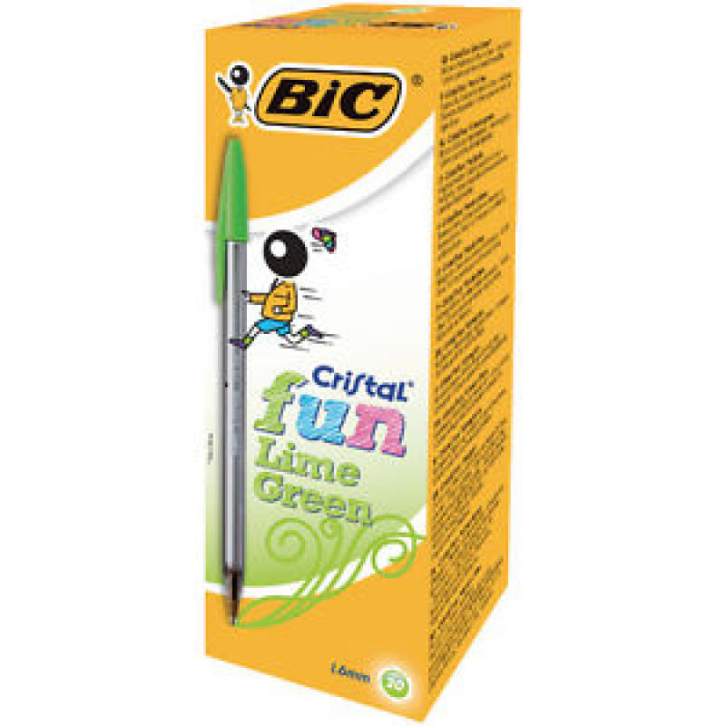 Bic Cristal Fun Ballpoint Pen Lime Green (Pack of 20)