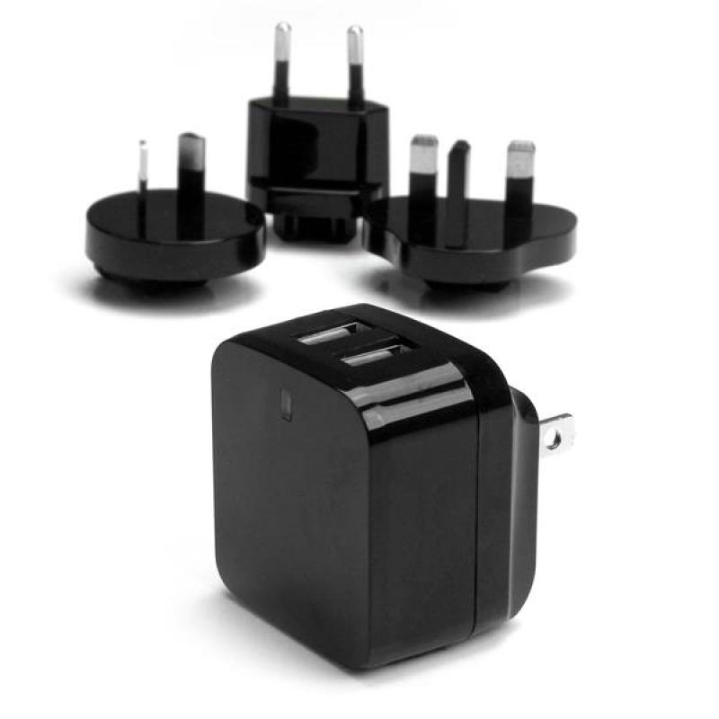 Startech.com Dualport USB wall charger  international travel  17W3.4A  black