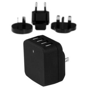 Startech.com 4-Port USB Wall Charger - International Travel - 34W/6.8A - Black