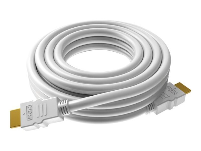 VISION TECHCONNECT V2 SPARE 10M HDMI CABLE Flexible High-Speed White Cable with Ethernet. Compact connector. Thin 8mm Diameter. 26 AWG conductors (note: smaller number = more copper). Tested to Category 2.