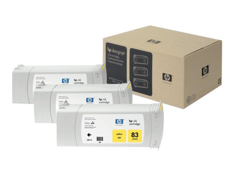 HP 83 UV Yellow Print cartridge - 3 Pack - C5075A