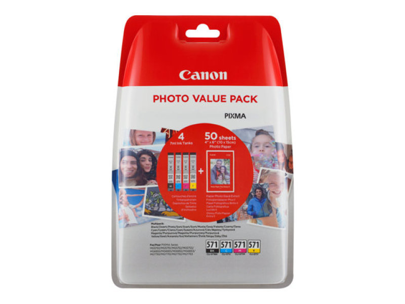 Canon CLI-571 Inkjet Cartridge Value Pack KCMY (4 Pack)