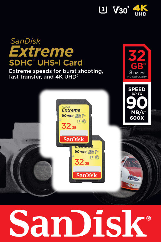 SanDisk Extreme 32GB SDHC UHS-1 Memory Card - 2 Pack