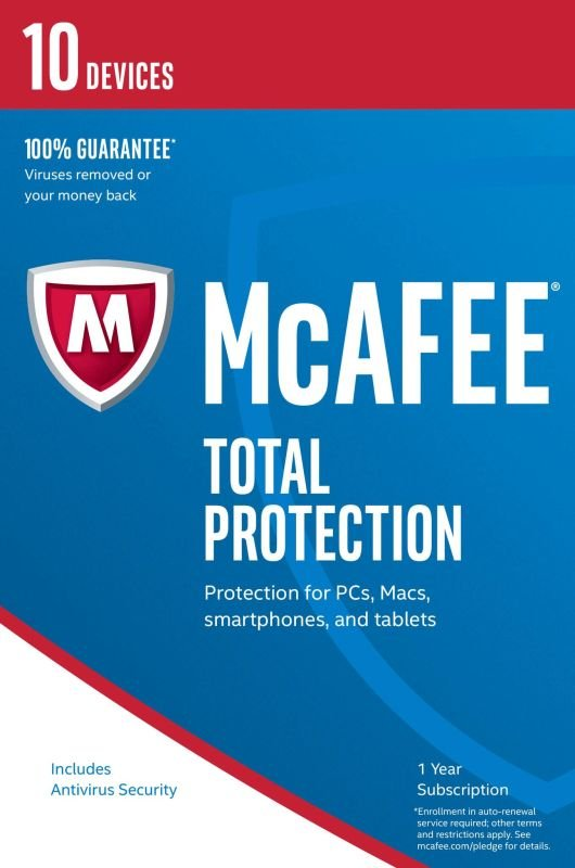 McAfee Total Protection 2017 1 Year 10 Devices  Electronic Software Download