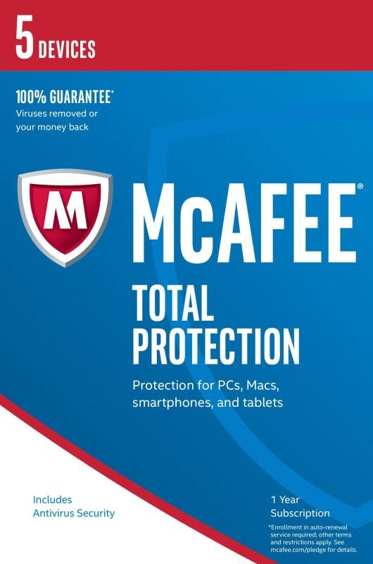 McAfee Total Protection 2017 1 Year 5 Devices  Electronic Software Download