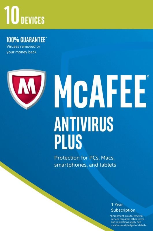 McAfee Antivirus Plus 2017 1 Year 10 Devices  Electronic Software Download