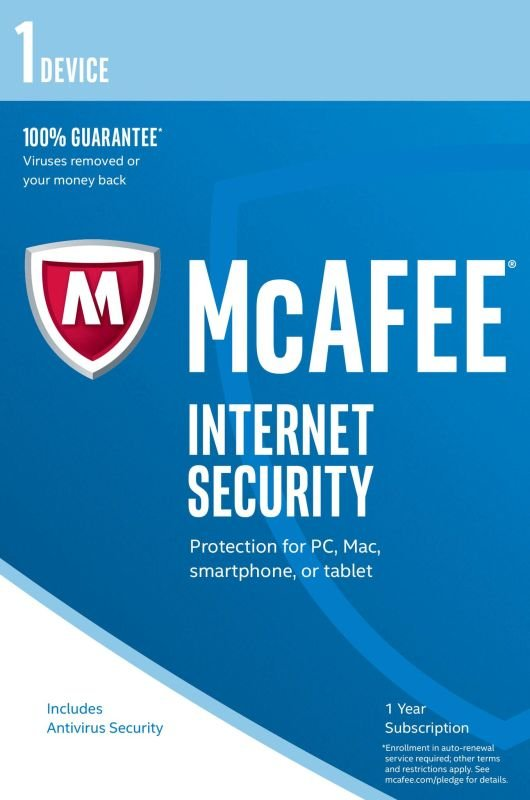 McAfee Internet Security 2017 1 Year 1 Device  Electronic Software Download