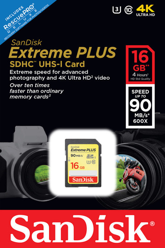 SanDisk Extreme Plus 16GB SDHC UHS-I Memory Card