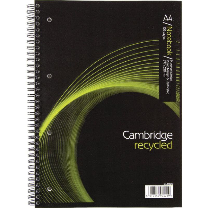 Image of *Cambridge Recycled A4 Wirebound Notebook 4 Hole Punched Feint Ruled 100 Pages