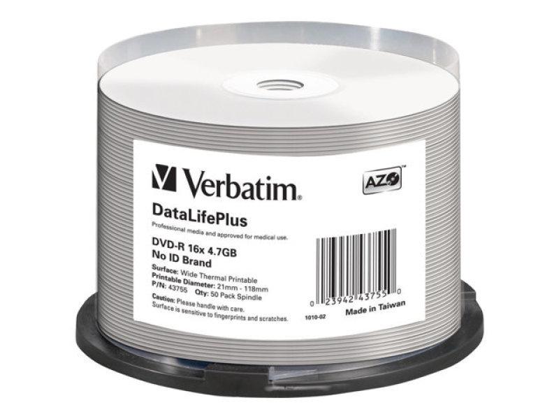 Verbatim 43755 DVD R 47GB 16x Print 50 Pack