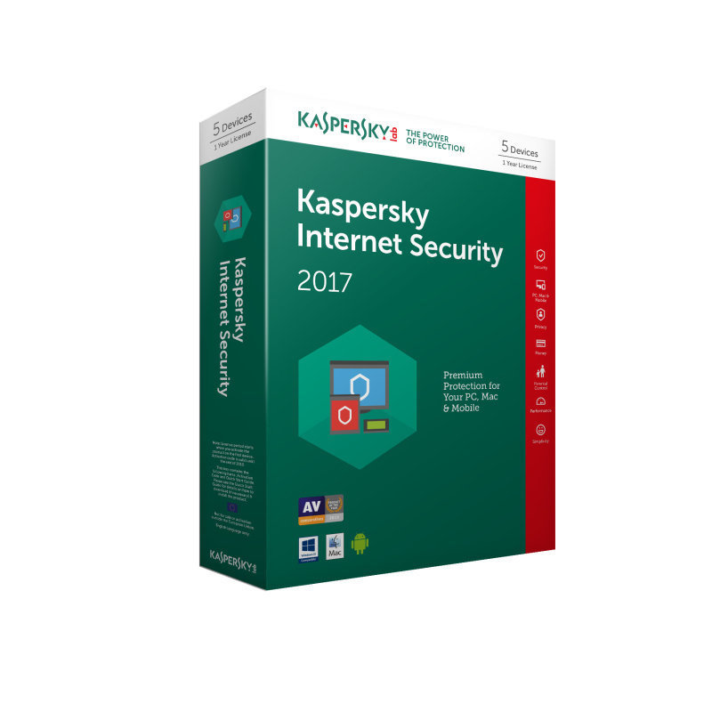 Kaspersky Internet Security 2017 5 Users 1 Year - Electronic Software Download