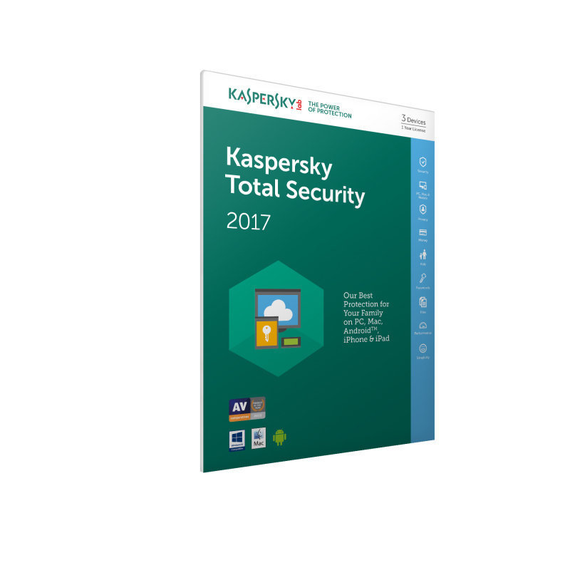 Kaspersky Total Security 2017 3 Users 1 Year - Electronic Software Download