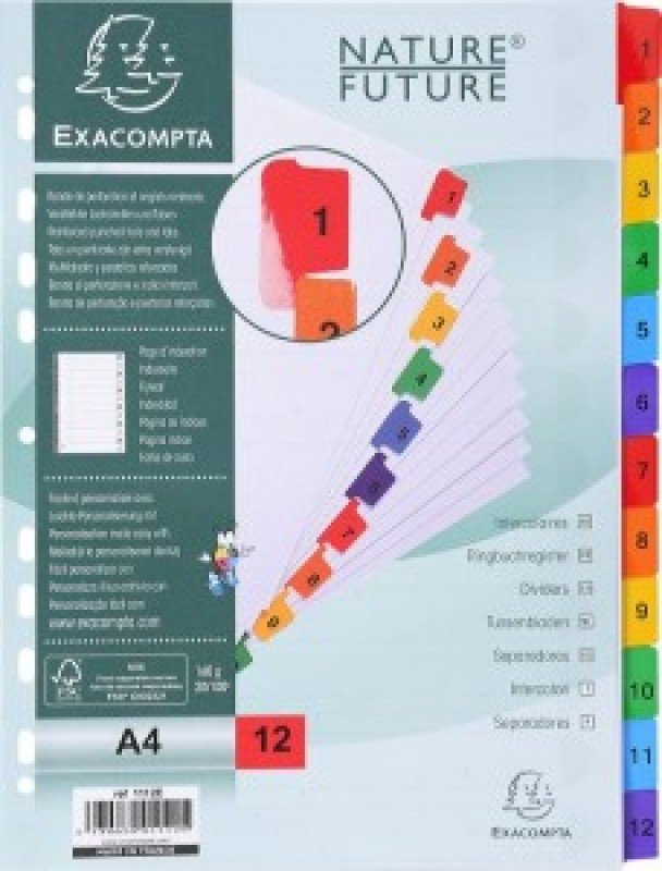 Exacompta A4 12 Part Printed Mylar Dividers