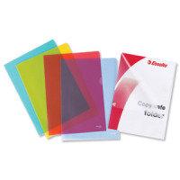 Esselte A4 Copy-safe Folder Plastic Cut Flush Blue (Pack 100)