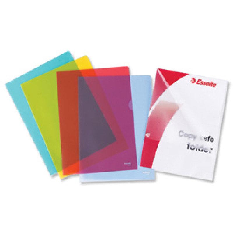 Esselte A4 Copysafe Folder Plastic Cut Flush Blue (Pack 100)