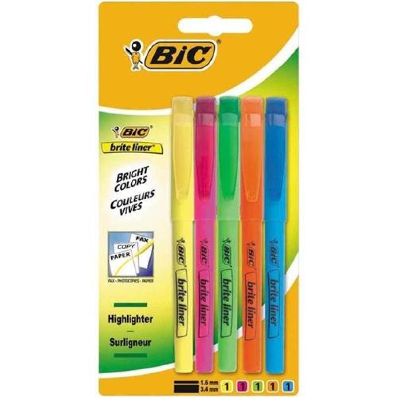 Bic Brite Liner Grip Chisel Tip Highlighter Pen Assorted (Pack 5)