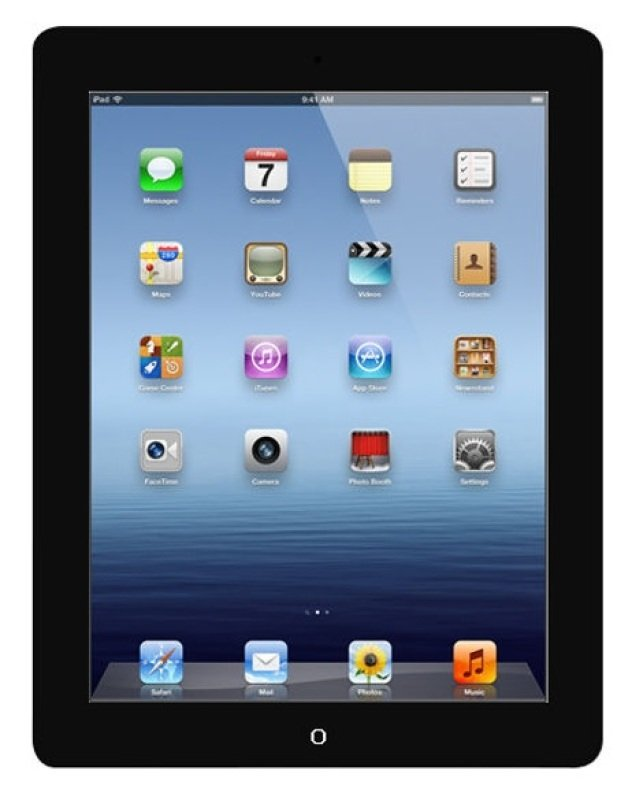 Refurbished Apple iPad 4th Gen 32GB WiFi Tablet A6X processor 1GB RAM 32GB Storage 9.7&quot Retina Display WiFi Black iOS 6