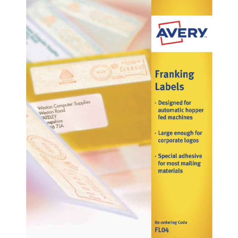 Avery Franking Label For Auto Hopper 140x38mm White FL04 (Pack of 1000)