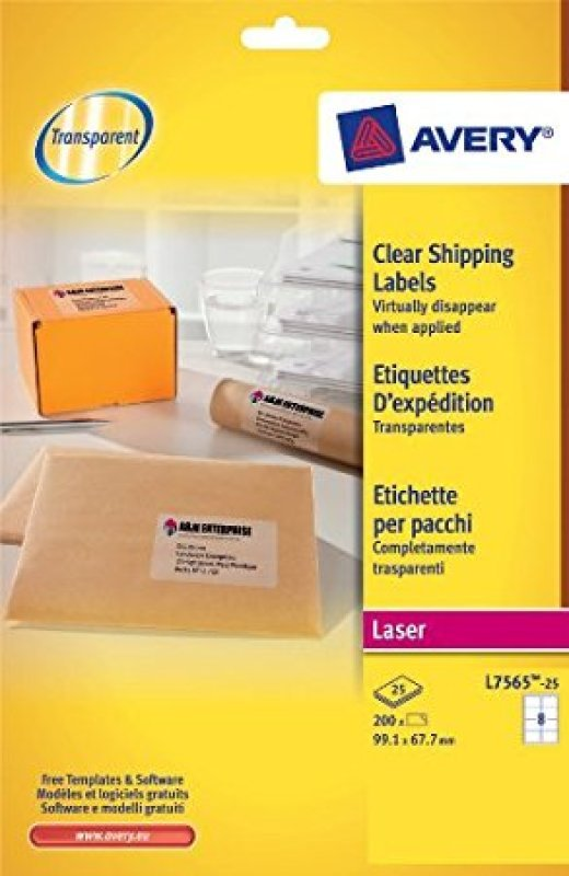 Avery Clear Inkjet Addressing Labels 99.1x67.7mm J8565-25 (Pack of 200 Labels)