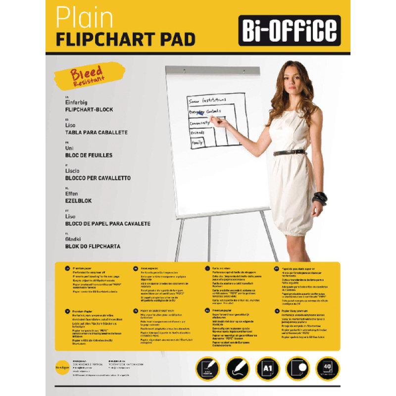 BiOffice White A1 Plain Flipchart Pads (Pack of 5)