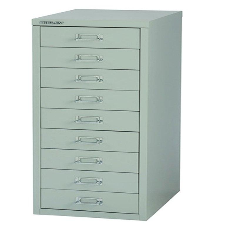 Bisley Non-Locking Multi-Drawer Cabinet Grey 9 Drawer