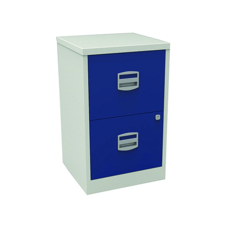 Image of Bisley A4 Personal Filing 2 Drawer Lockable Grey and Blue