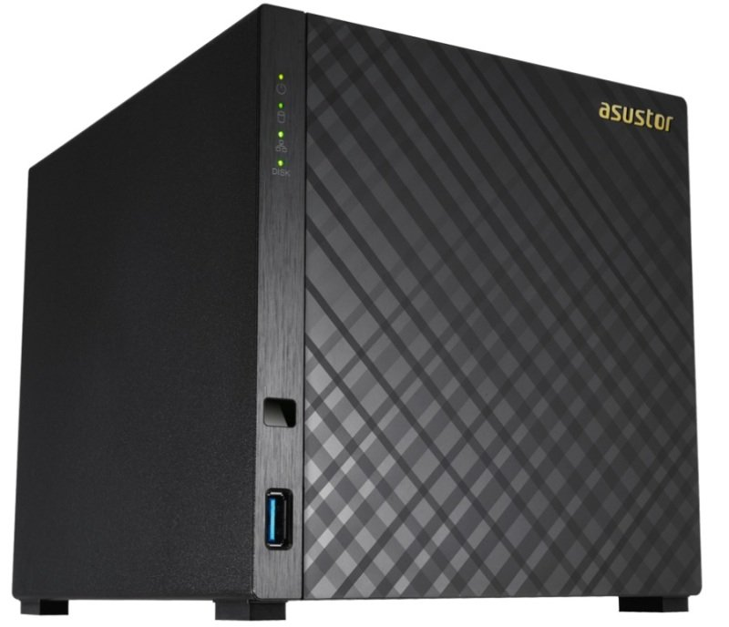 ASUSTOR AS1004T 4Bay Personal Cloud NAS 1 GHz DualCore CPU with Hardware Encryption Mobile Streaming ToolLess Setup DiamondPlate Design and UltraQuiet Operation