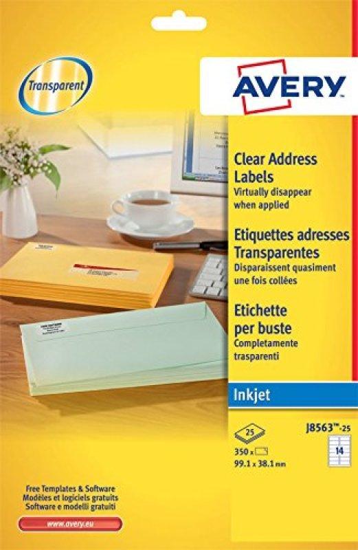 AVERY CLEAR I/JET LAB 99.1X38.1 14/SHT