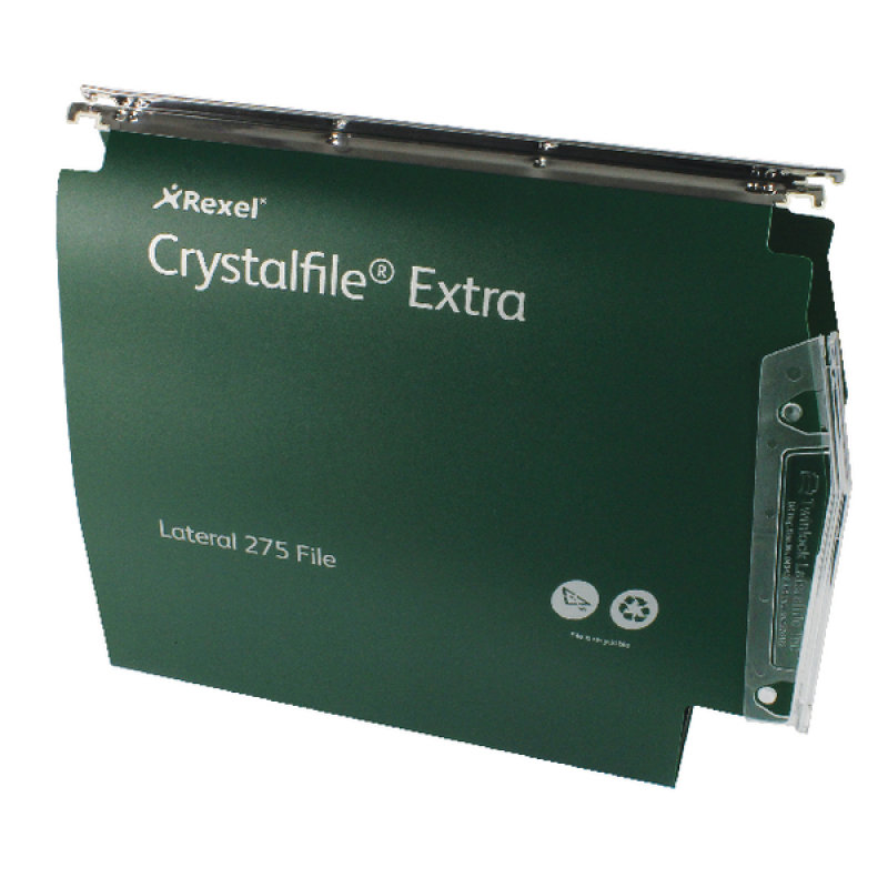 Image of Rexel CrystalFile Extra 275mm Lateral Files 50mm Capacity Green (Pack of 25)