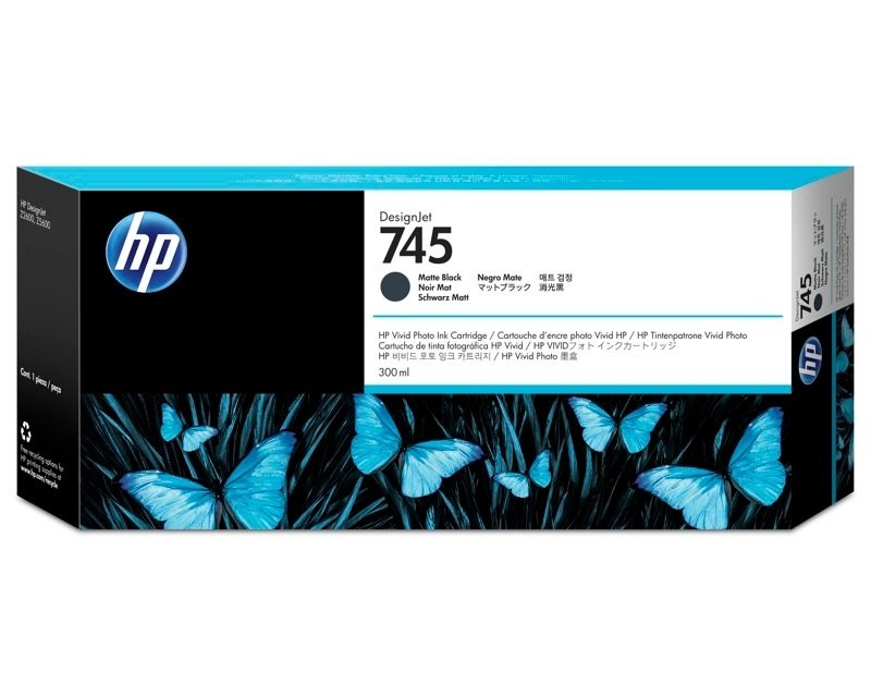 HP 745 Matte Black Original Ink Cartridge - High Yield 300ml - F9K05A