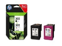 HP 302 Multi-pack 1x Black, 1x Tri-Colour Original Ink Cartridge - Standard Yield 190 Pages/588 Pages - X4D37AE