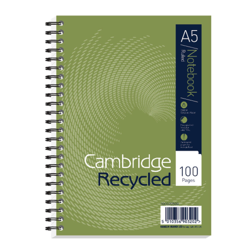 Image of Cambridge Recycled A5 Wirebound Notebook 2 Hole Punched Feint Ruled 100 Pages