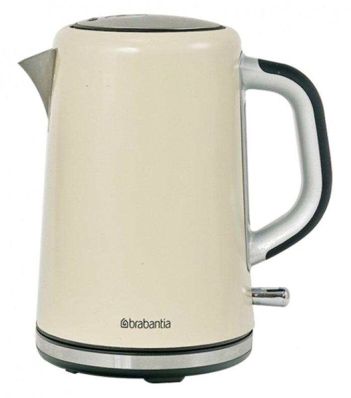Brabantia 1.7 Litre Soft Grip Kettle Brushed Stainless Steel Almond