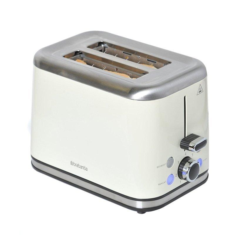 Image of Brabantia 2 Slice Toaster Brushed Stainless Steel Almond