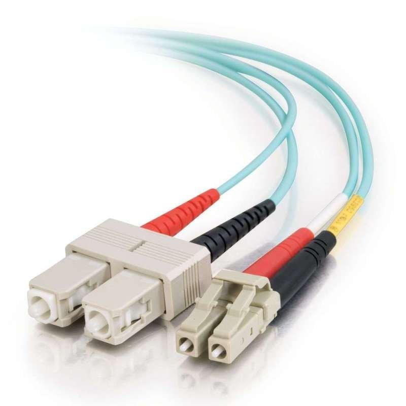 C2G 2M LC-SC 10GB 50/125 OM3 Duplex Multimode PVC Fibre Optic Cable (LSZH) - Aqua
