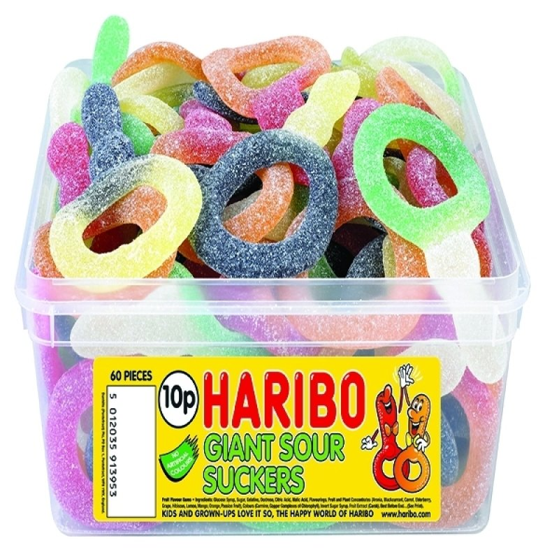 Image of Haribo Giant Sour Suckers Tub