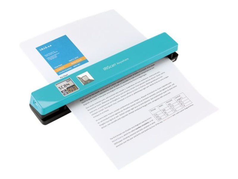IRIScan Anywhere 5 Turquoise - 8PPM Scan anything, anywhere. No computer needed. Battery Powered Portable Scanner. Scan up to 100 A4 documents on battery mode. Scan directly to JPEG/PDF. Scanning resolutions: 300/600/1200 dpi. Directly save scans into you