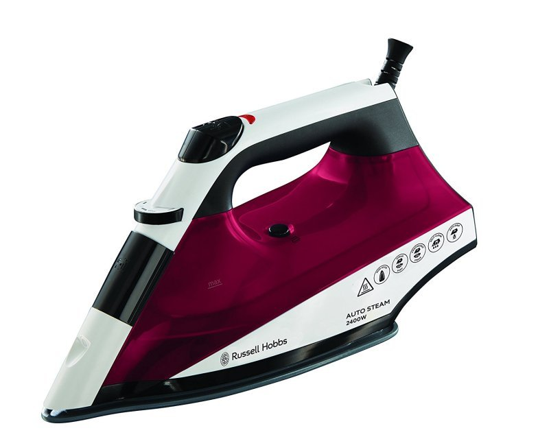 Russell Hobbs Auto Steam Non Stick Soleplate 2400W Iron White/Pink