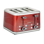 Brabantia 4 Slice Toaster Brushed Stainless Steel Red